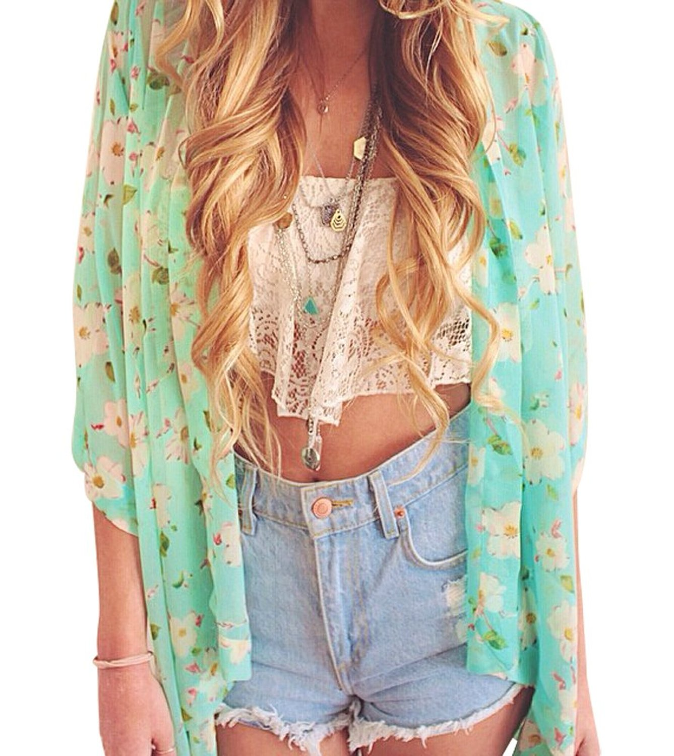 Women's Floral Sheer Crop Sleeve Chiffon Kimono Blouse at Amazon ...