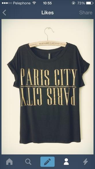 t-shirt paris mirror black t-shirt