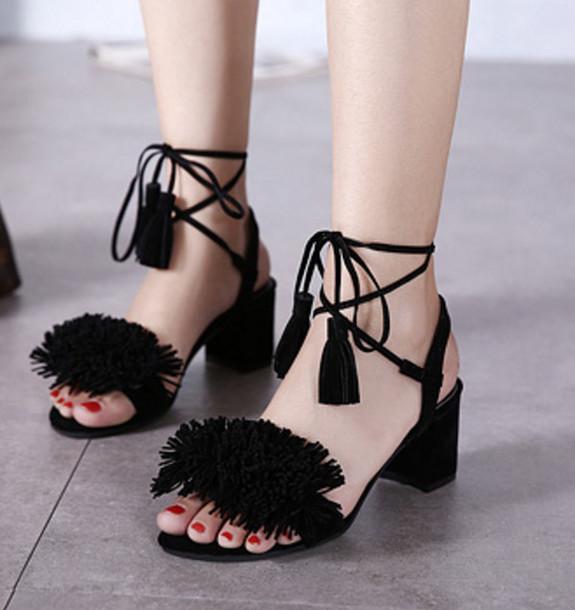 shoes shanghaitrends tassel sandals suede suede sandals heels black black sandals ss16 boho boho chic black tassel sandles