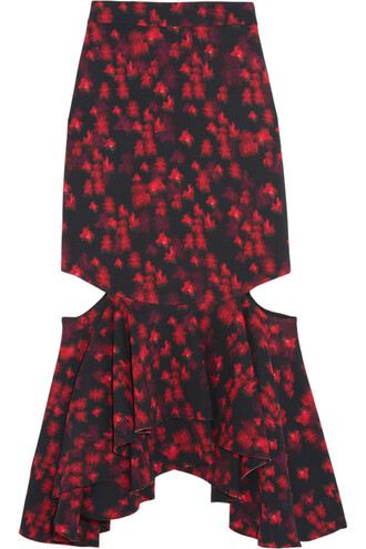 skirt midi skirt midi floral print satin black red