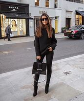 sweater,black sweater,knitted sweater,black boots,heel boots,black jeans,black bag