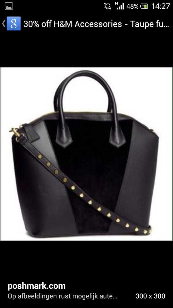 bag h&m h&m bag black fluffy leather bag studded bag studs