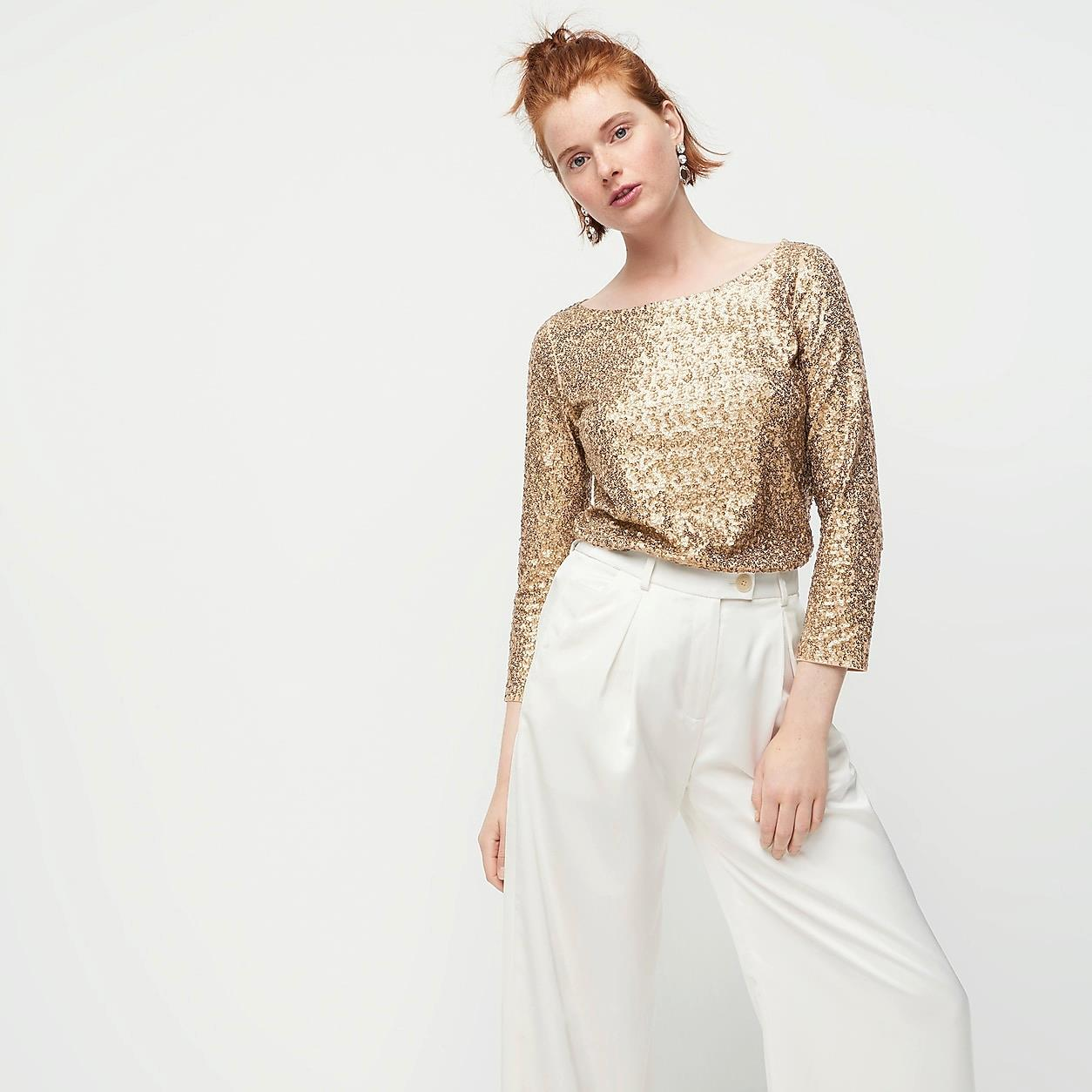 Sequined Three-Quarter-Sleeve Boatneck Top