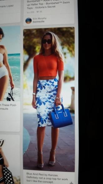 skirt pencil skirt floral skirt blue skirt summer skirt