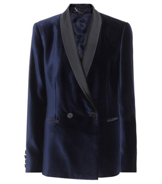 Stella McCartney blazer velvet blue jacket