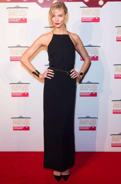 dress gown maxi dress karlie kloss black red carpet dress
