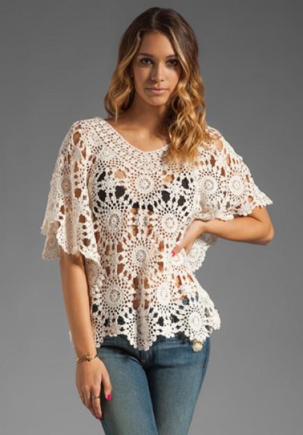 Crochet Top : Eternal Sunshine Creations Sunflower Petal Crochet Top In Ivory