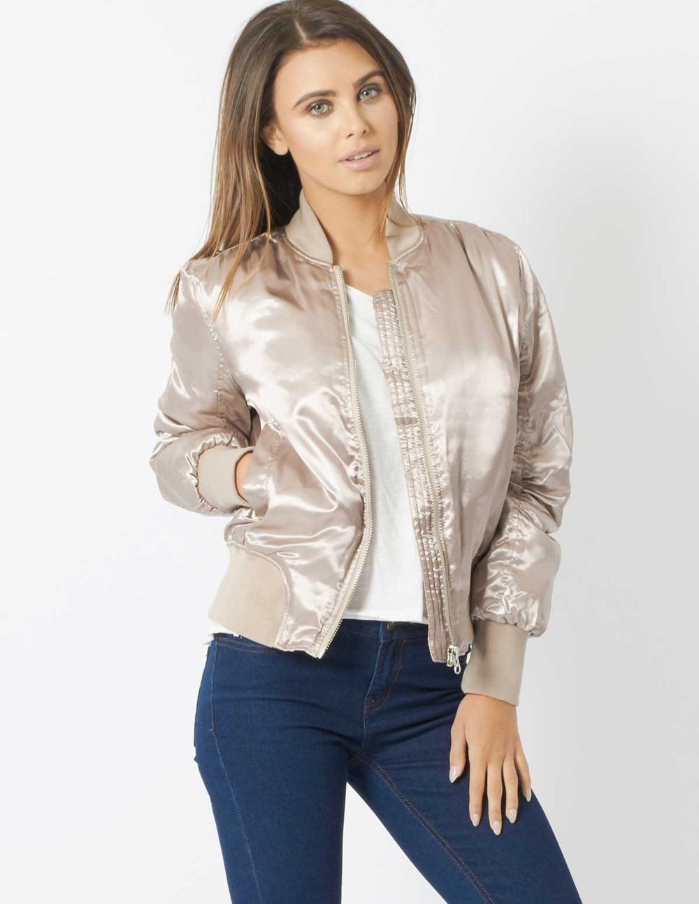 Blue Vanilla CLEO - Doeskin Bomber Jacket