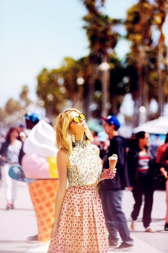 top ashley benson celebrity style celebrity actress midi skirt crop tops printed top sunglasses mirrored sunglasses