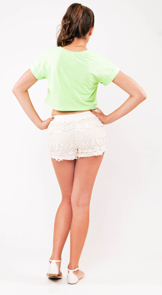 Off White Floral Crochet Lace Shorts | Affordable Junior Clothing & Plus Sized Dresses | Shimmer