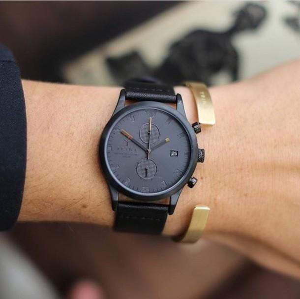jewels black clock watch