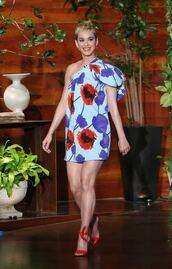 dress,floral,floral dress,mini dress,sandals,sandal heels,asymmetrical,asymmetrical dress,katy perry,shoes