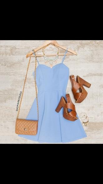 dress blue blue dress cute pretty nice cute outfits brown heels purse