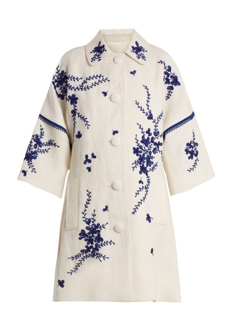 ANDREW GN coat embroidered floral white blue