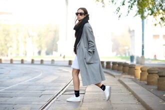 my free choice blogger sunglasses scarf socks grey coat long coat