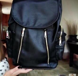 bag black leater zip backpack leather backpack black leather backpack