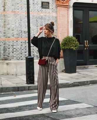 sweater tumblr black sweater knit knitwear knitted sweater pants stripes striped pants wide-leg pants bag crossbody bag