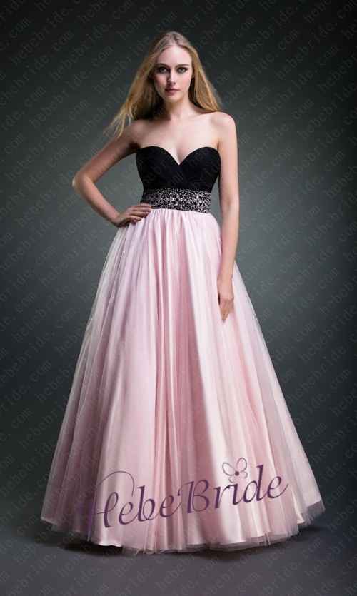 Black and pink strapless sweetheart empire a line prom for Black and pink wedding dress
