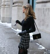 skirt,tumblr,checkered,mini skirt,printed skirt,top,black top,bag,black bag,ysl,ysl bag,designer bag,tights,leather gloves,gloves