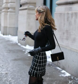 skirt tumblr checkered mini skirt printed skirt top black top bag black bag ysl ysl bag designer bag tights leather gloves gloves
