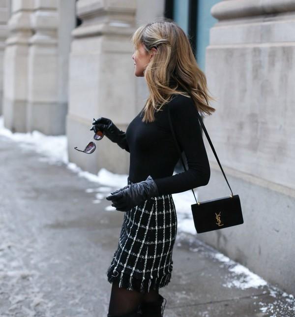 skirt tumblr checkered mini skirt printed skirt top black top bag black bag ysl ysl bag designer bag tights leather gloves gloves