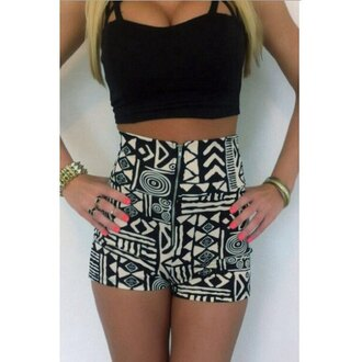 romper rose wholesale trendy tribal pattern black and white two-piece high waisted summer boho black black crop top fashion shorts cute