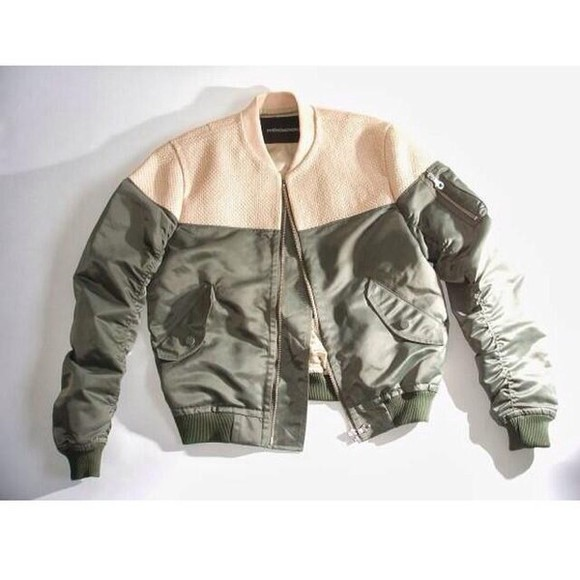 khaki jacket beige green zipper