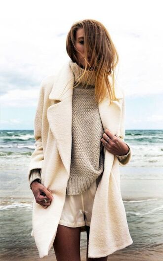 coat white and beige outfit white and beige white coat beige sweater sweater shorts white shorts tumblr tumblr girl tumblr outfit
