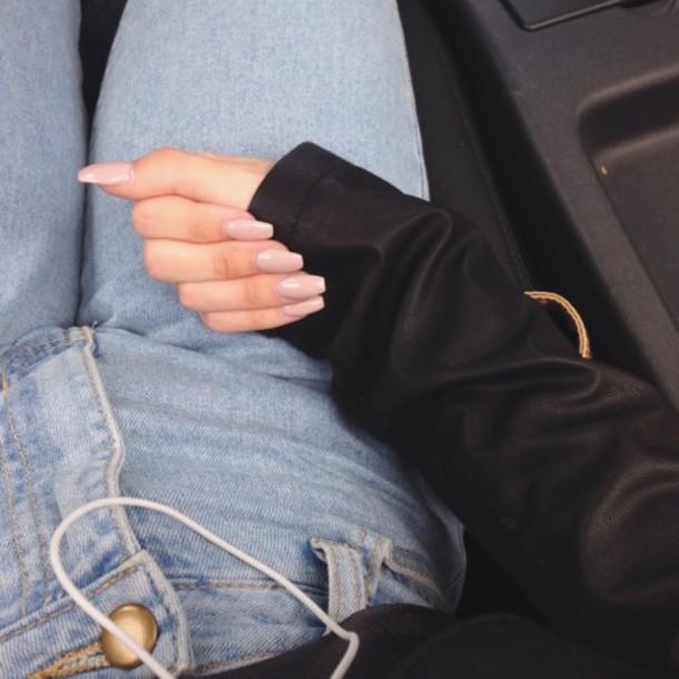 jeans light blue nails