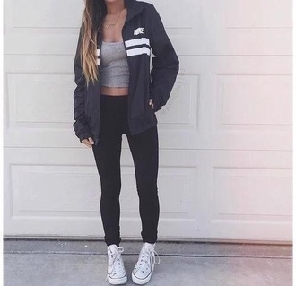 nike nike jacket blue jacket grey top grey tank top tank top crop tops grey crop top black pants black leggings leggings workout leggings workout sportswear