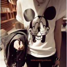 Middle Finger Mickey Mouse O-neck T-Shirt