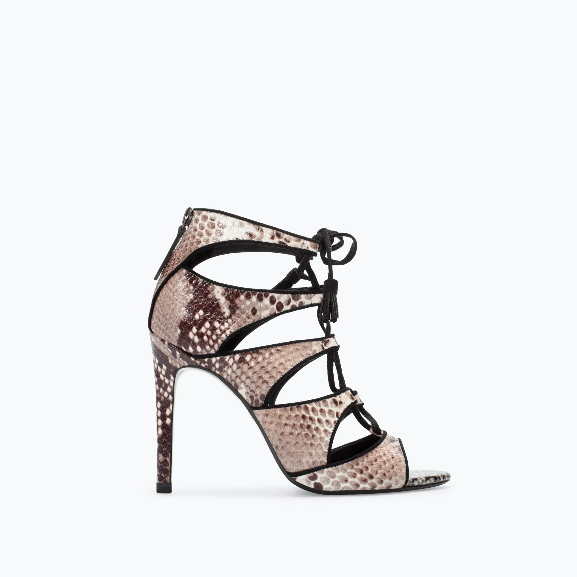 7f12fcdf1a4 HIGH HEEL SNAKE PRINT LEATHER SANDAL - Heeled sandals ...