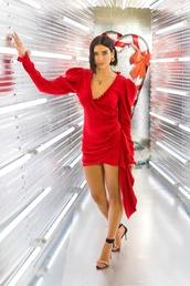 dress,wrap dress,red dress,dua lipa,celebrity,mini dress,sandals,sandal heels