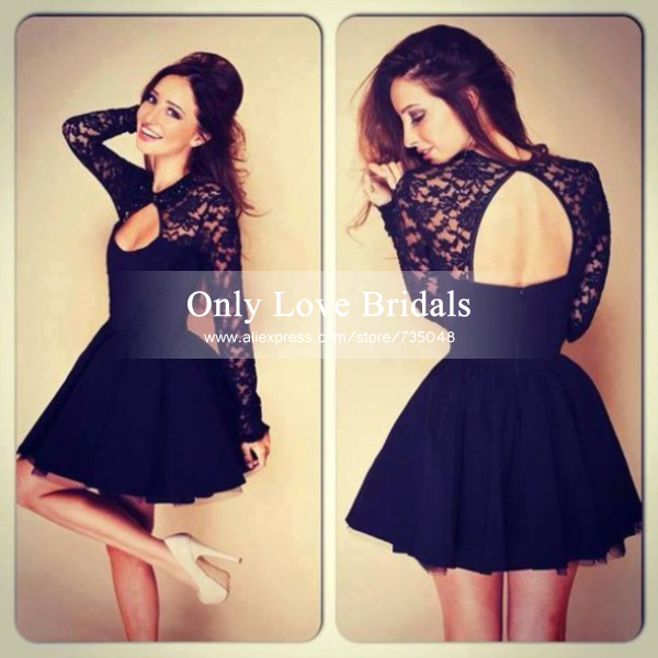 Aliexpress.com : buy hot sale black tulle a line short prom dresses scoop neck key hole open back lace long sleeve evening gowns party dress sexy from reliable dress agencies suppliers on only love bridals