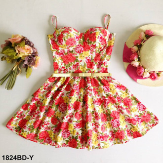dress roses pink yellow cute flowers