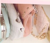 bag,small bags,purse,light pink,white,chanel like bags,chain strap bag,quilted bag,pastel bag