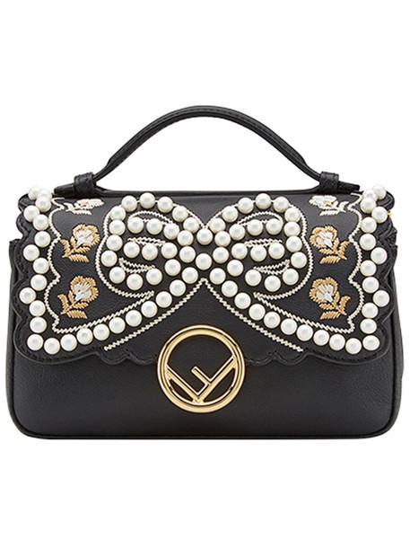 Fendi women abs handbag leather black bag