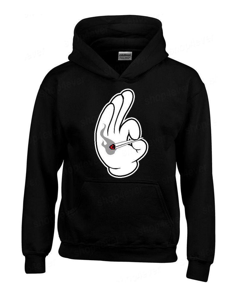 Cartoon hands smoking joint hoodie blunt marijuanna weed party hooded sweatshirt