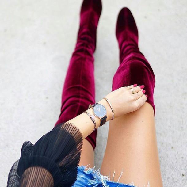 986e902cbd8 shoes tumblr red boots velvet velvet shoes velvet boots watch black watch  bracelets accessories Accessory velvet