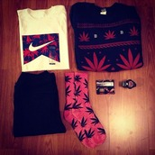 shirt,huf,nike,marijuana,knitted sweater,sweater,t-shirt,weed,weed socks,outfit
