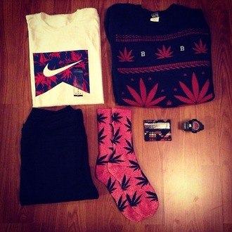 shirt huf nike marijuana knitted sweater sweater t-shirt weed weed socks outfit