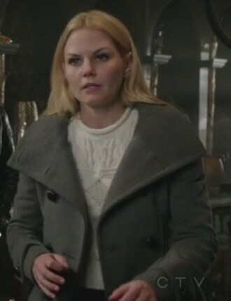 coat once upon a time show grey pea coat emma swan jennifer morrison