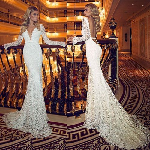 Long sleeve mermaid deep v neck sexy backless chapel wedding bridal gown dress