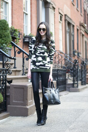 the glam files,blogger,leather leggings,camouflage,pullover,sunglasses,jewels,sweater,leggings,shoes,bag