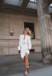 dress,midi dress,side split,white dress,mid heel sandals,mini bag,white and black sandals