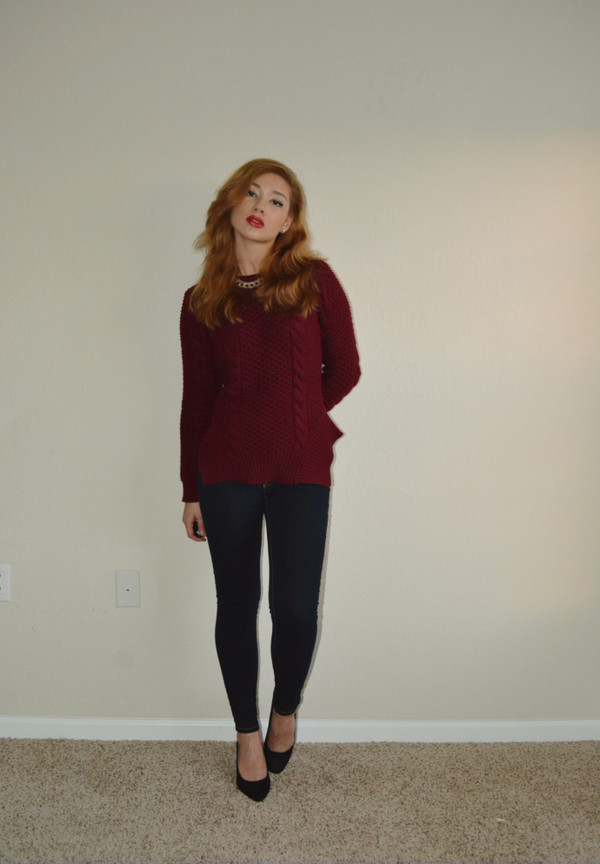 raspberry jam sweater jeans jewels shoes