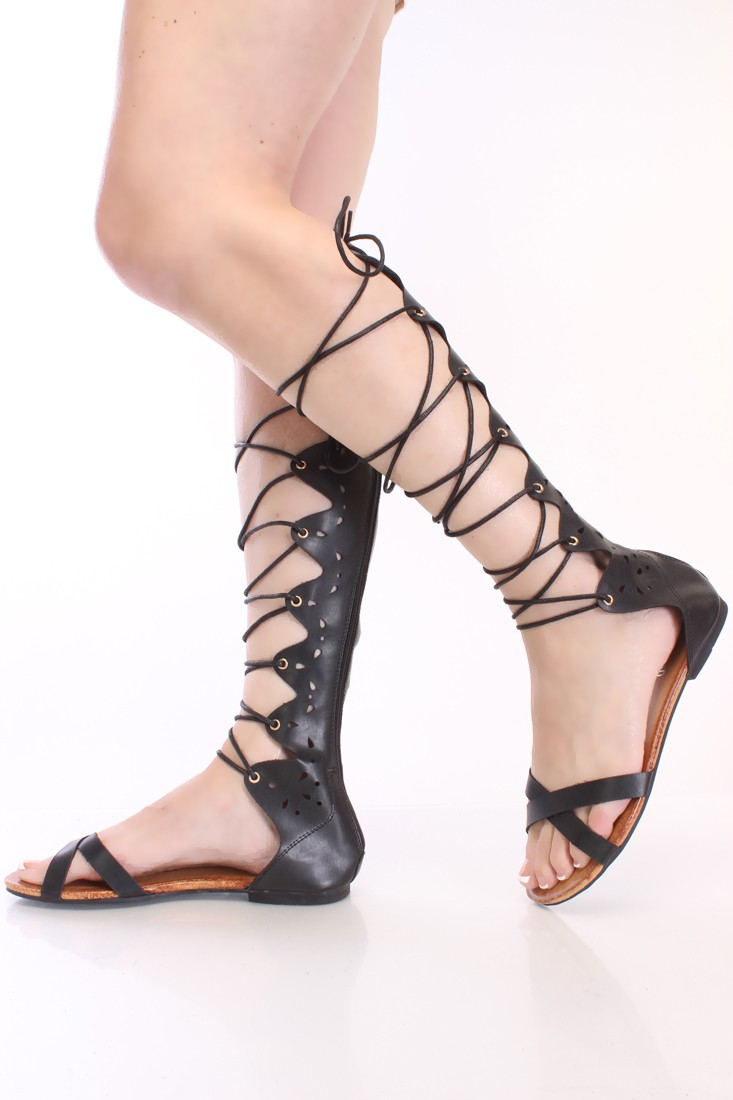 Black lace up gladiator sandals faux leather