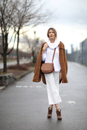 pants,ankle boots,streetstyle,jacket,NY Fashion Week 2016,fashion week 2016,sweater,pocket jacket,white sweater,turtleneck sweater,turtleneck,culottes,white culottes,palazzo pants,cropped pants,brown bag,crossbody bag,boots,brown boots,high heels boots