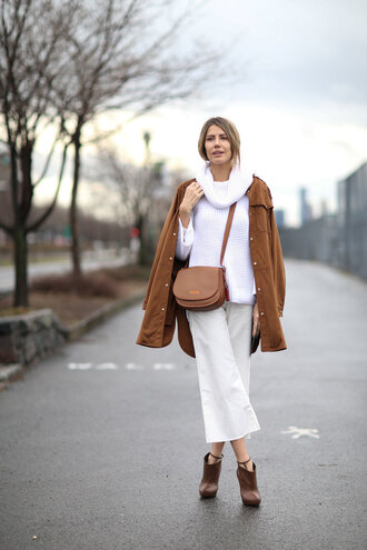 pants ankle boots streetstyle jacket ny fashion week 2016 fashion week 2016 sweater pocket jacket white sweater turtleneck sweater turtleneck culottes white culottes palazzo pants cropped pants brown bag crossbody bag boots brown boots high heels boots