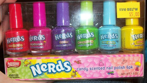 nail polish nerds candy rainbow nails polish nails art red pink purple green baby blue yellow